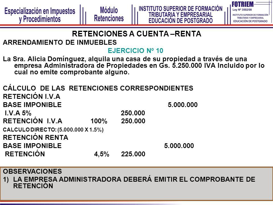 RETENCIONES A CUENTA –RENTA ARRENDAMIENTO DE INMUEBLES EJERCICIO Nº 10 La Sra. Alicia Domínguez, alquila una casa de su propiedad a través de una empr