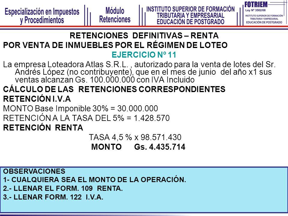 RETENCIONES DEFINITIVAS – RENTA POR VENTA DE INMUEBLES POR EL RÉGIMEN DE LOTEO EJERCICIO Nº 11 La empresa Loteadora Atlas S.R.L., autorizado para la v