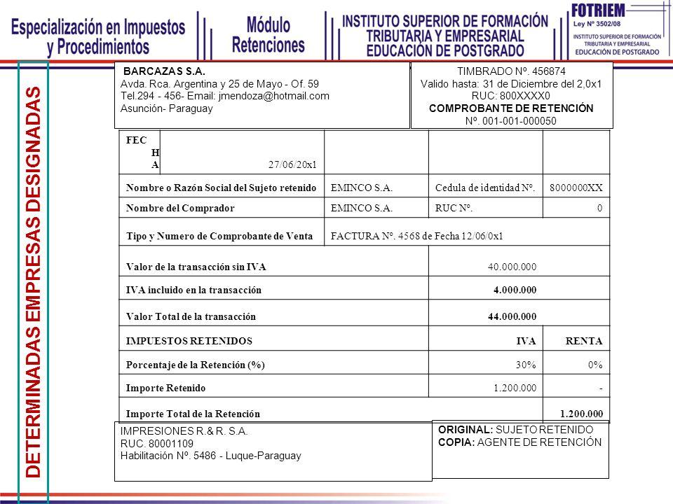 BARCAZAS S.A. Avda. Rca. Argentina y 25 de Mayo - Of. 59 Tel.294 - 456- Email: jmendoza@hotmail.com Asunción- Paraguay TIMBRADO Nº. 456874 Valido hast