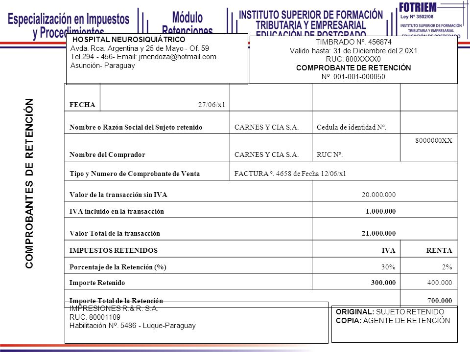 HOSPITAL NEUROSIQUIÁTRICO Avda. Rca. Argentina y 25 de Mayo - Of. 59 Tel.294 - 456- Email: jmendoza@hotmail.com Asunción- Paraguay TIMBRADO Nº. 456874