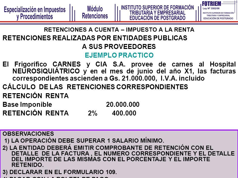 RETENCIONES DEFINITIVAS – IVA ARRENDAMIENTO DE INMUEBLES EJERCICIO Nº 7 La Sra.