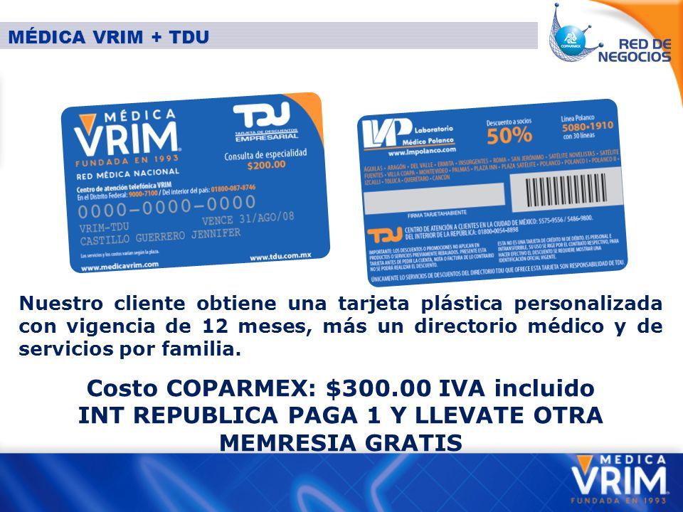 Nuestro cliente obtiene una tarjeta plástica personalizada con vigencia de 12 meses, más un directorio médico y de servicios por familia.