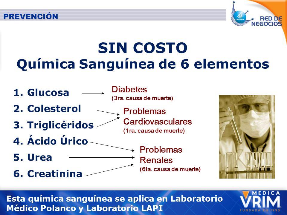 SIN COSTO Química Sanguínea de 6 elementos 1.Glucosa 2.
