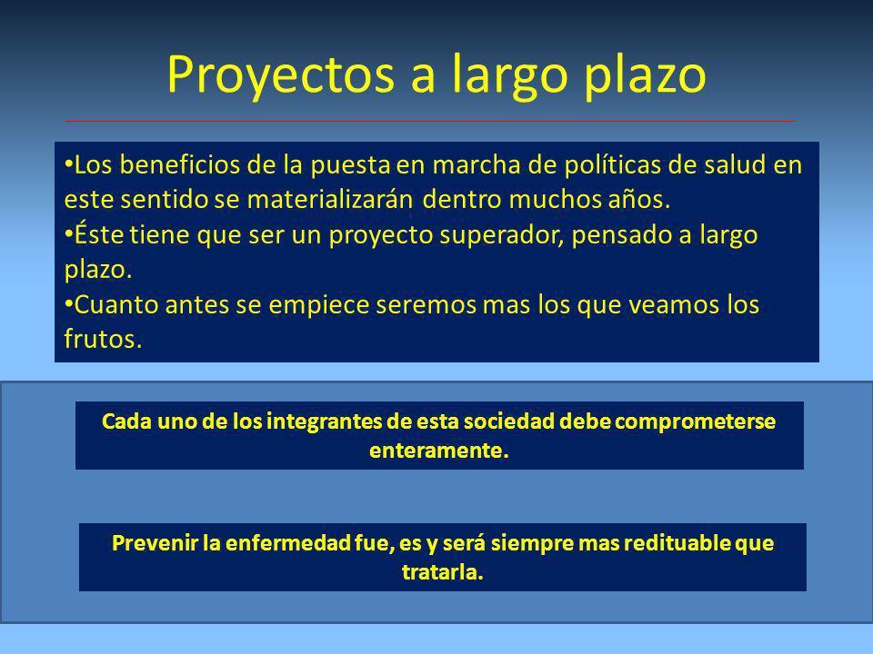 Proyectos a largo plazo Los beneficios de la puesta en marcha de políticas de salud en este sentido se materializarán dentro muchos años.