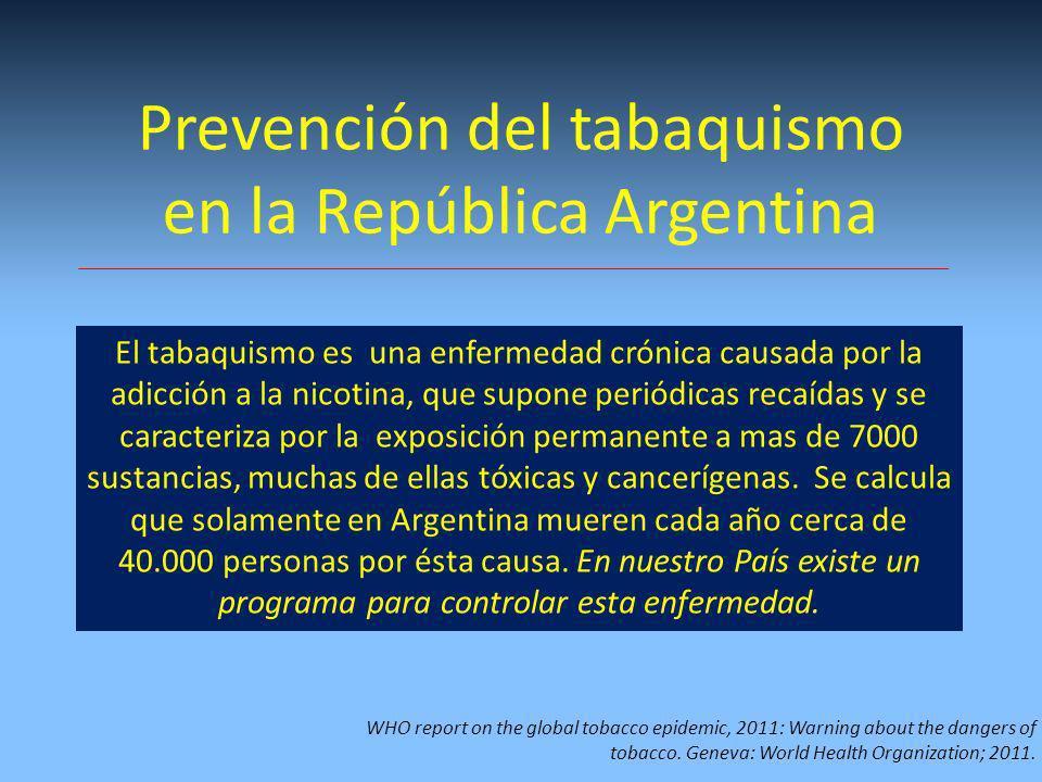 Prevención del tabaquismo en la República Argentina El tabaquismo es una enfermedad crónica causada por la adicción a la nicotina, que supone periódicas recaídas y se caracteriza por la exposición permanente a mas de 7000 sustancias, muchas de ellas tóxicas y cancerígenas.