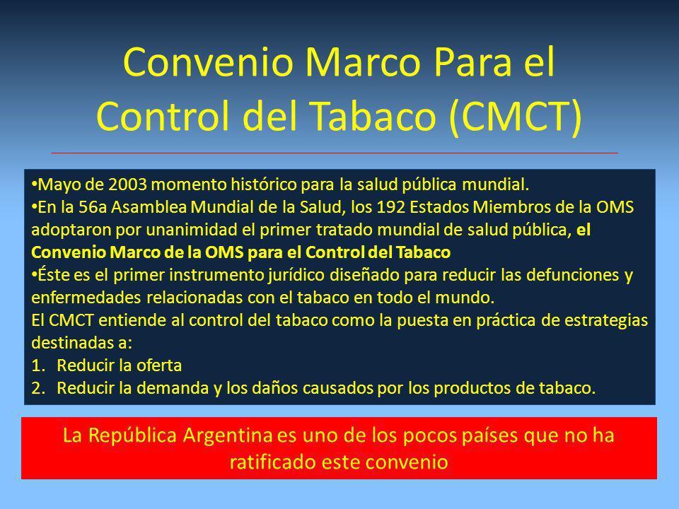 Convenio Marco Para el Control del Tabaco (CMCT) Mayo de 2003 momento histórico para la salud pública mundial.