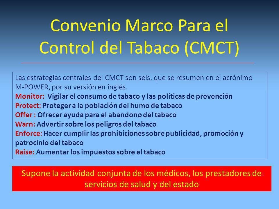 Las estrategias centrales del CMCT son seis, que se resumen en el acrónimo M-POWER, por su versión en inglés. Monitor: Vigilar el consumo de tabaco y
