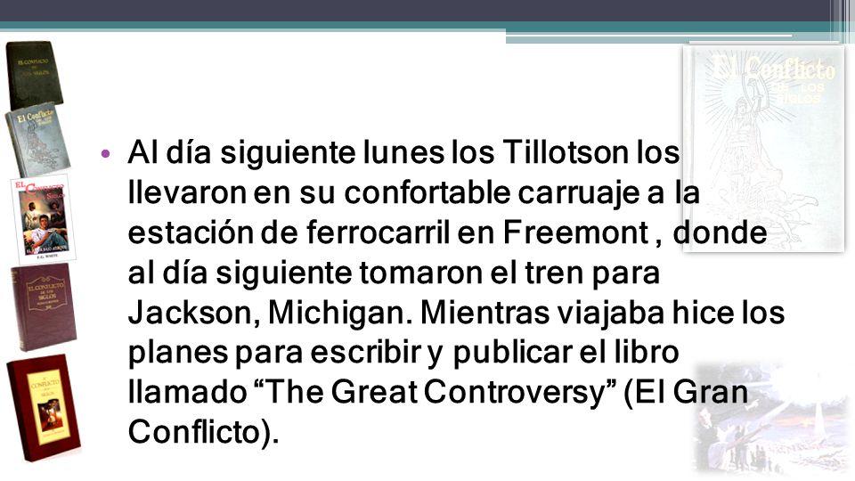 Al día siguiente lunes los Tillotson los llevaron en su confortable carruaje a la estación de ferrocarril en Freemont, donde al día siguiente tomaron