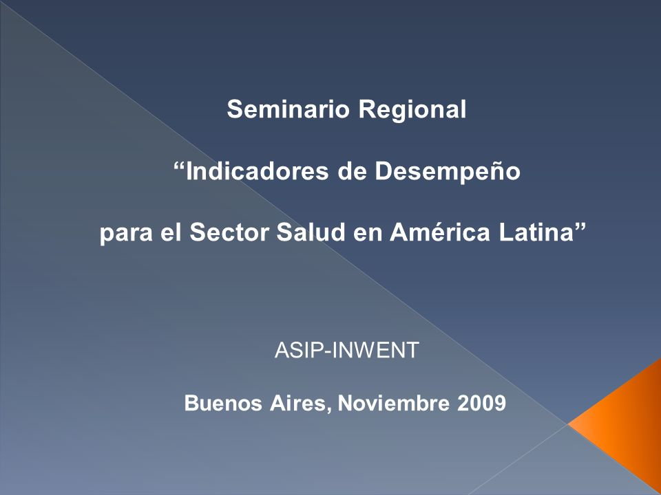 Seminario Regional Indicadores de Desempeño para el Sector Salud en América Latina ASIP-INWENT Buenos Aires, Noviembre 2009