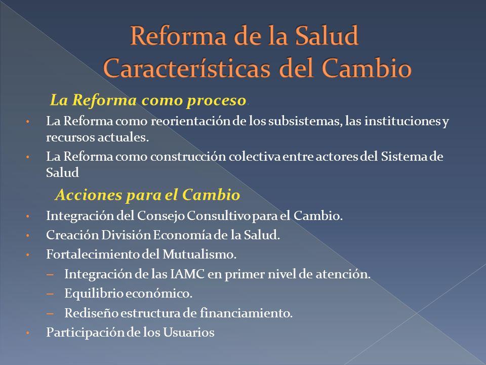 La Reforma como proceso. La Reforma como reorientación de los subsistemas, las instituciones y recursos actuales. La Reforma como construcción colecti