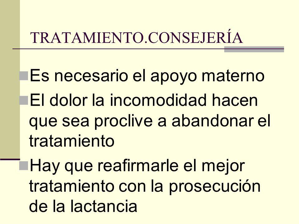 TRATAMIENTO.CONSEJERÍA Es necesario el apoyo materno El dolor la incomodidad hacen que sea proclive a abandonar el tratamiento Hay que reafirmarle el mejor tratamiento con la prosecución de la lactancia