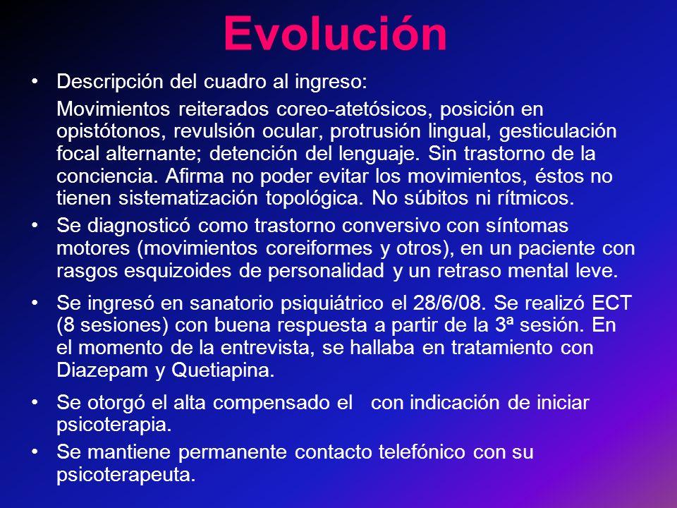 Evolución Descripción del cuadro al ingreso: Movimientos reiterados coreo-atetósicos, posición en opistótonos, revulsión ocular, protrusión lingual, gesticulación focal alternante; detención del lenguaje.