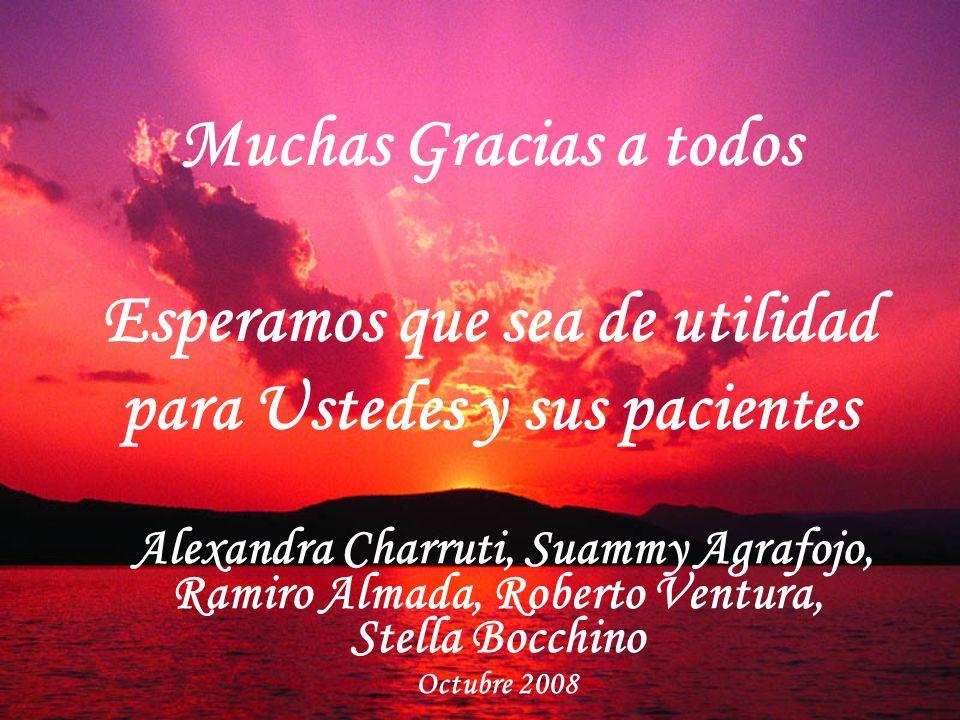 Muchas Gracias a todos Esperamos que sea de utilidad para Ustedes y sus pacientes Alexandra Charruti, Suammy Agrafojo, Ramiro Almada, Roberto Ventura,