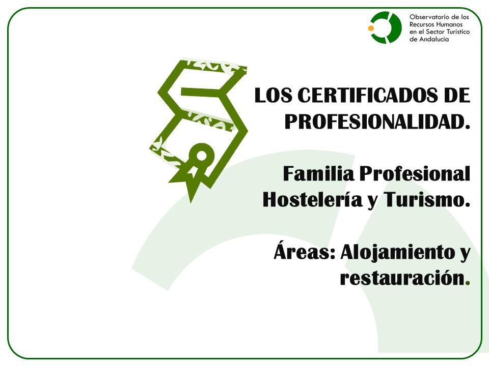 LOS CERTIFICADOS DE PROFESIONALIDAD. Familia Profesional Hostelería y Turismo. Áreas: Alojamiento y restauración.