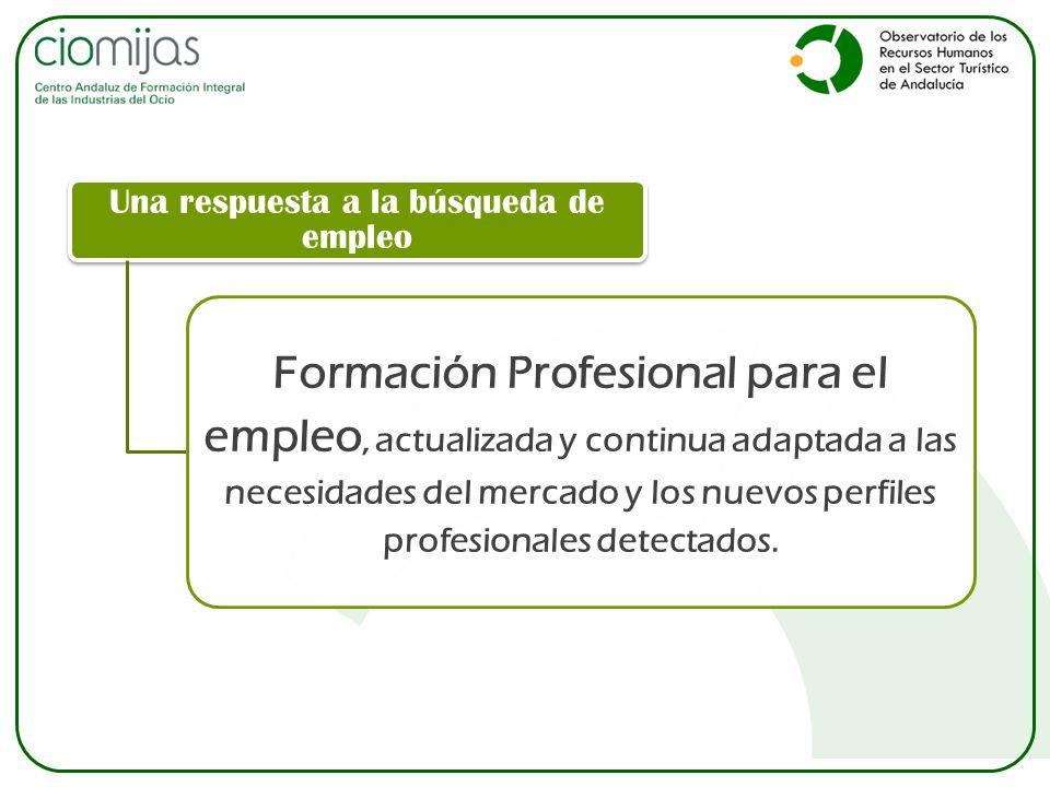 Una respuesta a la búsqueda de empleo Formación Profesional para el empleo, actualizada y continua adaptada a las necesidades del mercado y los nuevos