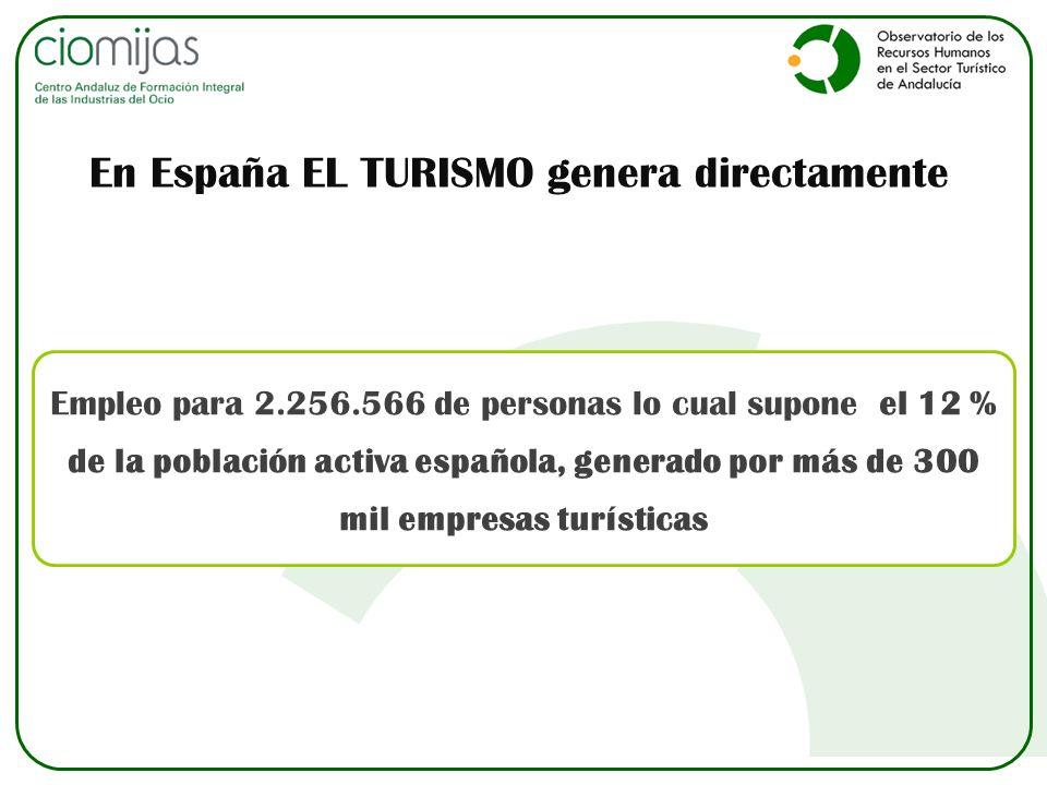 Empleo para 2.256.566 de personas lo cual supone el 12 % de la población activa española, generado por más de 300 mil empresas turísticas En España EL