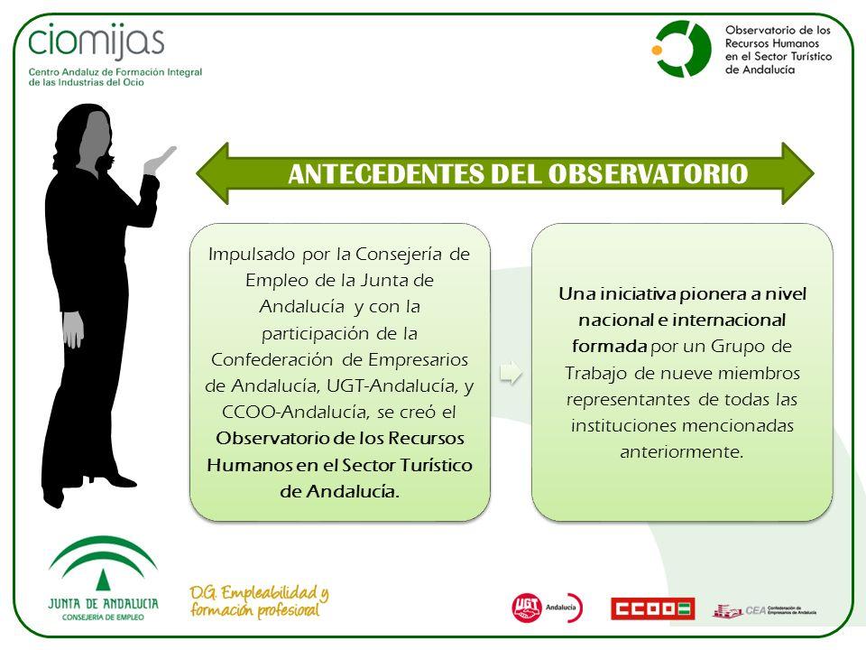 ANTECEDENTES DEL OBSERVATORIO Impulsado por la Consejería de Empleo de la Junta de Andalucía y con la participación de la Confederación de Empresarios