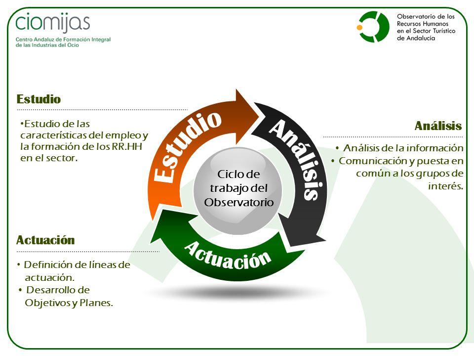 Ciclo de trabajo del Observatorio Análisis de la información Comunicación y puesta en común a los grupos de interés. Análisis Definición de líneas de