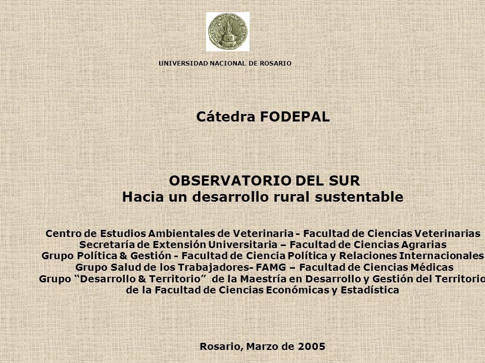 UNIVERSIDAD NACIONAL DE ROSARIO Cátedra FODEPAL OBSERVATORIO DEL SUR Hacia un desarrollo rural sustentable Centro de Estudios Ambientales de Veterinar