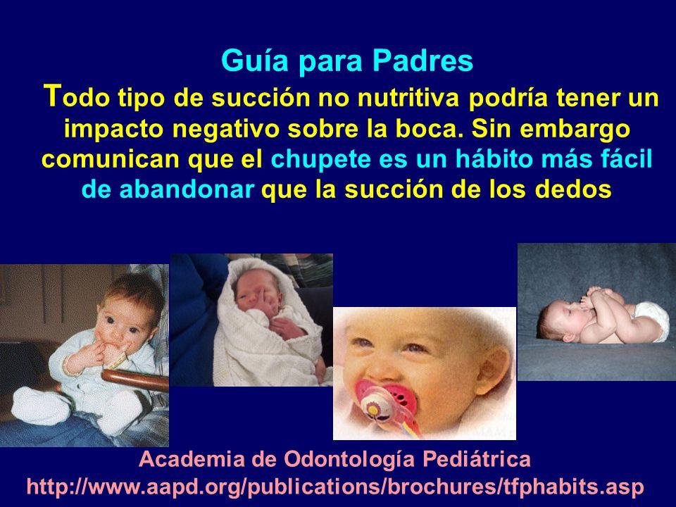Guía para Padres T odo tipo de succión no nutritiva podría tener un impacto negativo sobre la boca. Sin embargo comunican que el chupete es un hábito