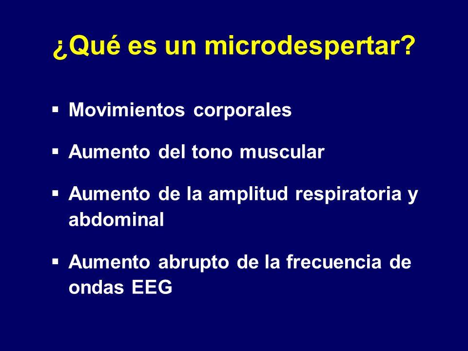 ¿Qué es un microdespertar? Movimientos corporales Aumento del tono muscular Aumento de la amplitud respiratoria y abdominal Aumento abrupto de la frec