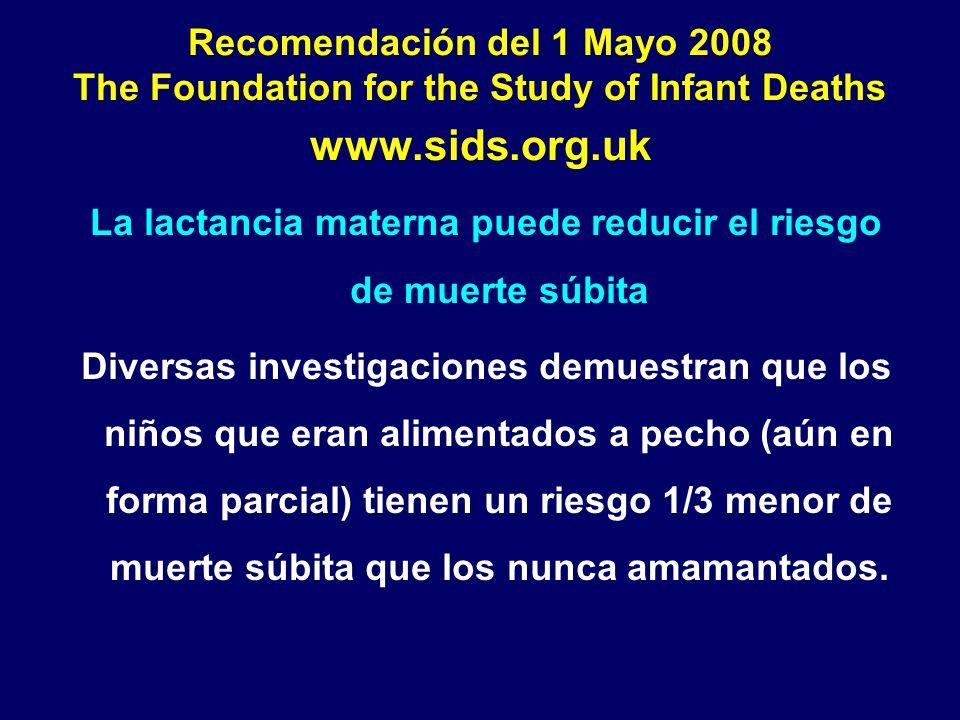 Recomendación del 1 Mayo 2008 The Foundation for the Study of Infant Deaths www.sids.org.uk La lactancia materna puede reducir el riesgo de muerte súb