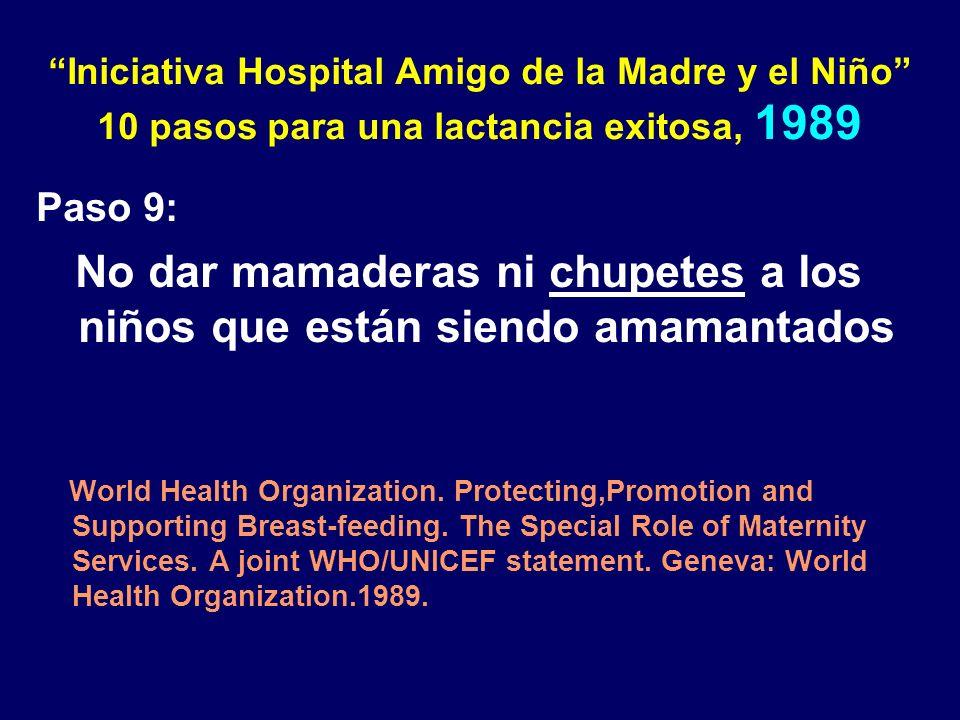 Iniciativa Hospital Amigo de la Madre y el Niño 10 pasos para una lactancia exitosa, 1989 Paso 9: No dar mamaderas ni chupetes a los niños que están siendo amamantados World Health Organization.