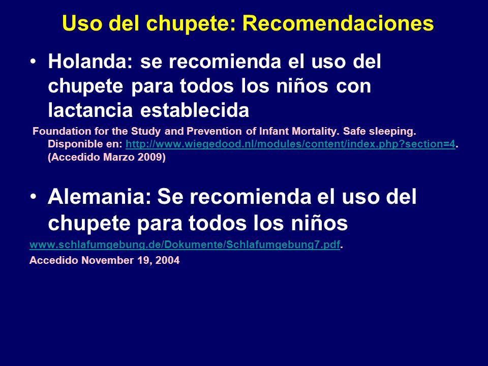 Uso del chupete: Recomendaciones Holanda: se recomienda el uso del chupete para todos los niños con lactancia establecida Foundation for the Study and Prevention of Infant Mortality.