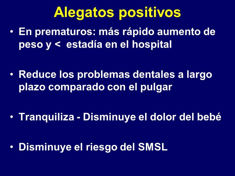 Alegatos positivos En prematuros: más rápido aumento de peso y < estadía en el hospital Reduce los problemas dentales a largo plazo comparado con el pulgar Tranquiliza - Disminuye el dolor del bebé Disminuye el riesgo del SMSL