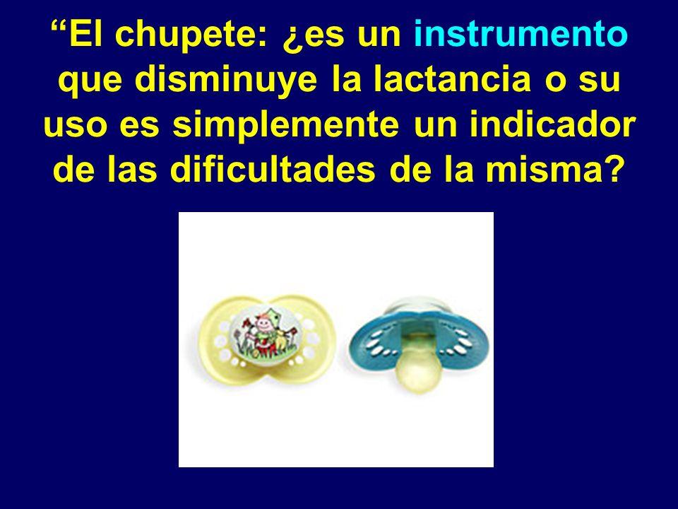 El chupete: ¿es un instrumento que disminuye la lactancia o su uso es simplemente un indicador de las dificultades de la misma?