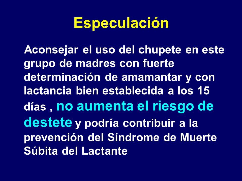Especulación Aconsejar el uso del chupete en este grupo de madres con fuerte determinación de amamantar y con lactancia bien establecida a los 15 días