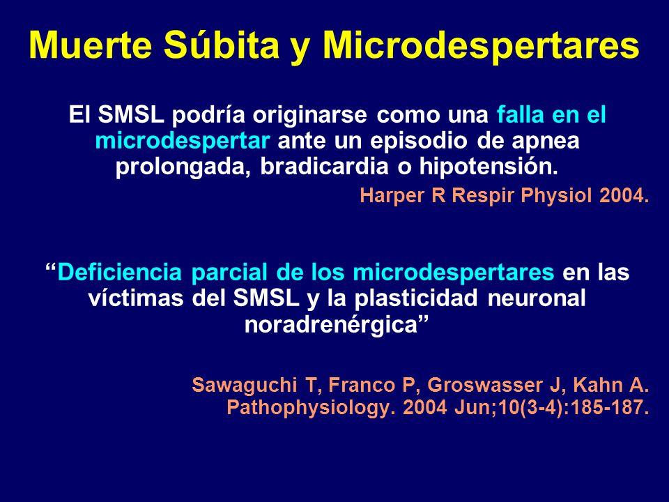 Muerte Súbita y Microdespertares El SMSL podría originarse como una falla en el microdespertar ante un episodio de apnea prolongada, bradicardia o hip