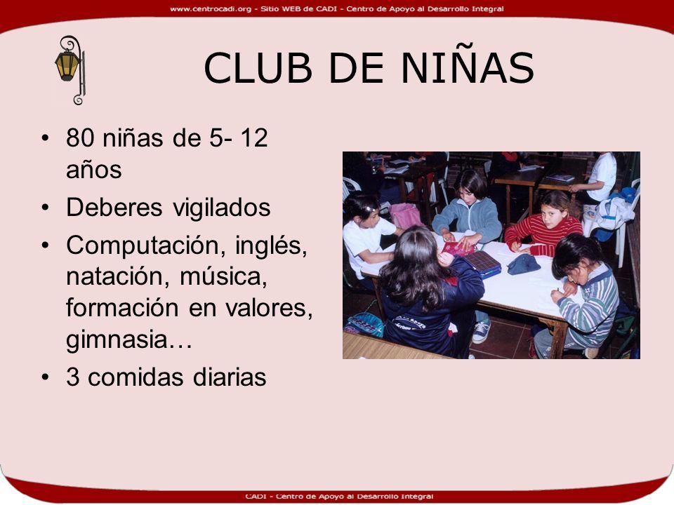 CLUB DE NIÑAS 80 niñas de 5- 12 años Deberes vigilados Computación, inglés, natación, música, formación en valores, gimnasia… 3 comidas diarias