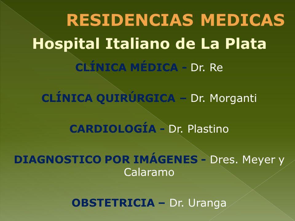 CLÍNICA MÉDICA - Dr. Re CLÍNICA QUIRÚRGICA – Dr. Morganti CARDIOLOGÍA - Dr. Plastino DIAGNOSTICO POR IMÁGENES - Dres. Meyer y Calaramo OBSTETRICIA – D