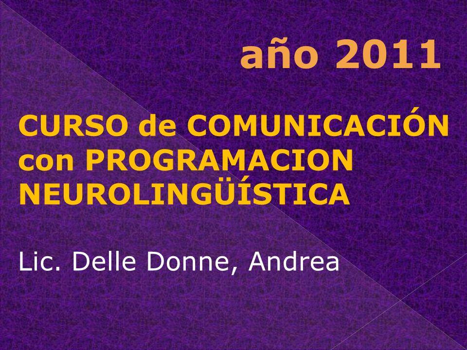 CURSO de COMUNICACIÓN con PROGRAMACION NEUROLINGÜÍSTICA Lic. Delle Donne, Andrea año 2011