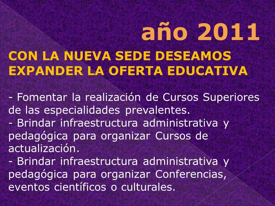 CON LA NUEVA SEDE DESEAMOS EXPANDER LA OFERTA EDUCATIVA - Fomentar la realización de Cursos Superiores de las especialidades prevalentes. - Brindar in