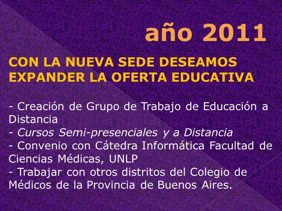 CON LA NUEVA SEDE DESEAMOS EXPANDER LA OFERTA EDUCATIVA - Creación de Grupo de Trabajo de Educación a Distancia - Cursos Semi-presenciales y a Distanc