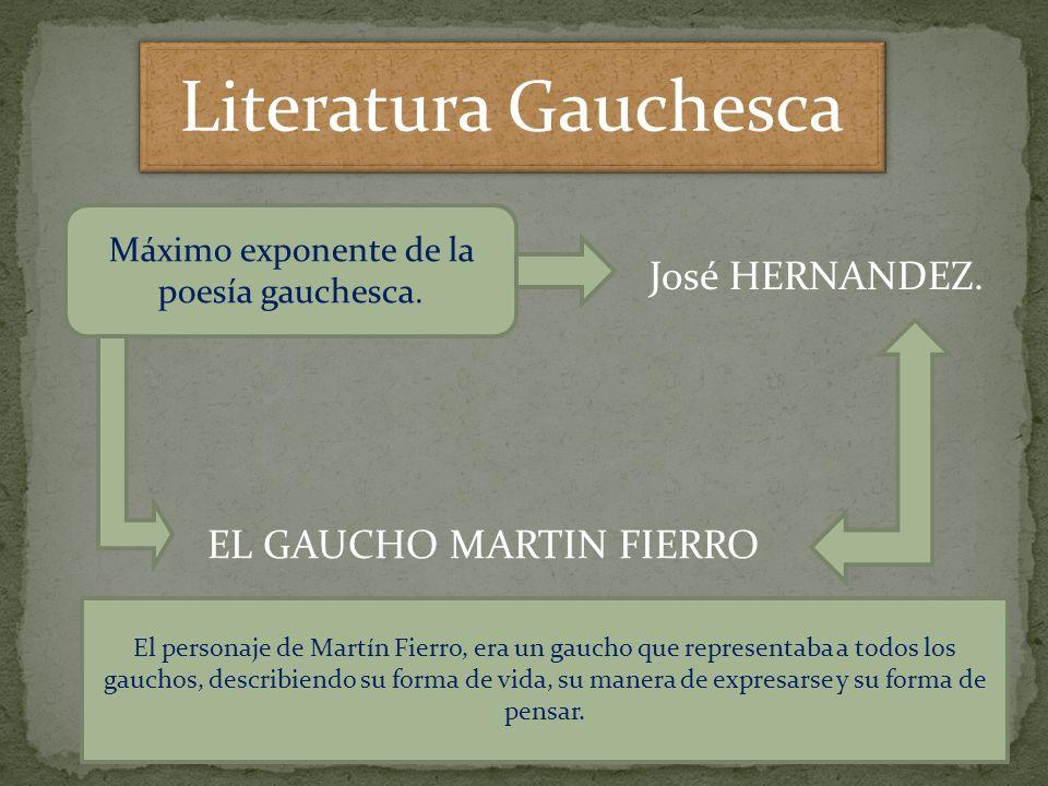 Literatura Gauchesca Máximo exponente de la poesía gauchesca. José HERNANDEZ. EL GAUCHO MARTIN FIERRO El personaje de Martín Fierro, era un gaucho que