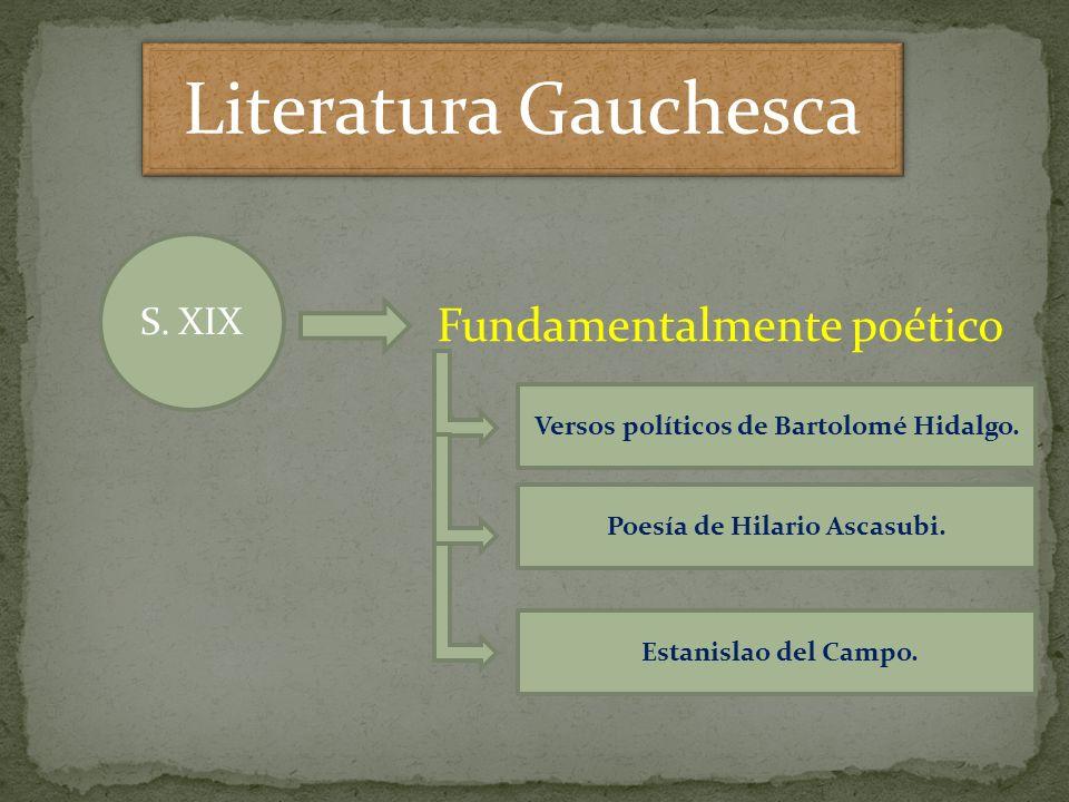 S. XIX Fundamentalmente poético Versos políticos de Bartolomé Hidalgo. Poesía de Hilario Ascasubi. Estanislao del Campo.