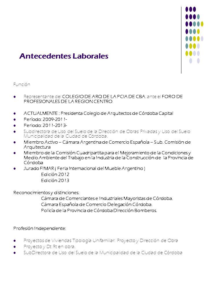 Antecedentes Laborales Función Representante del COLEGIO DE ARQ DE LA PCIA DE CBA. ante el FORO DE PROFESIONALES DE LA REGION CENTRO. ACTUALMENTE : Pr