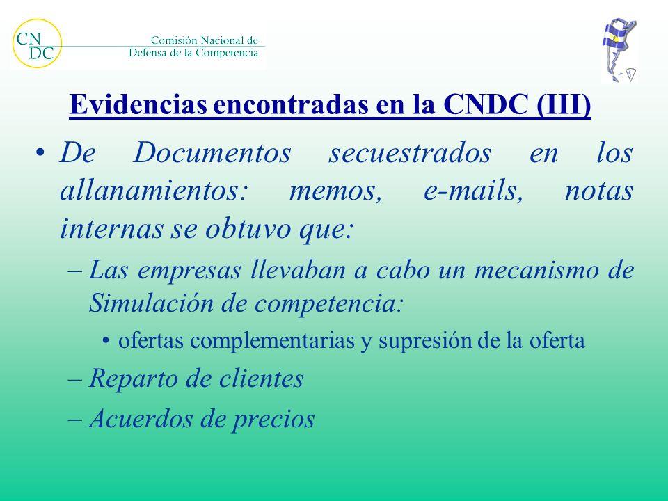 Evidencias encontradas en la CNDC (III) De Documentos secuestrados en los allanamientos: memos, e-mails, notas internas se obtuvo que: –Las empresas l