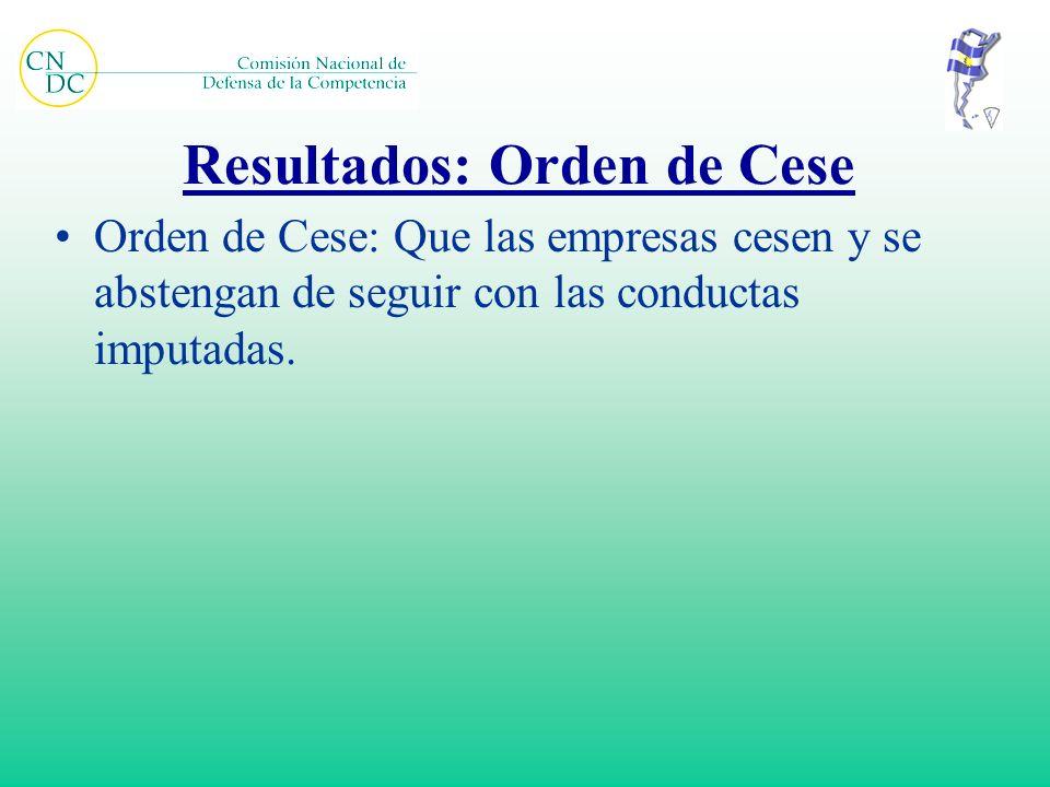 Resultados: Orden de Cese Orden de Cese: Que las empresas cesen y se abstengan de seguir con las conductas imputadas.