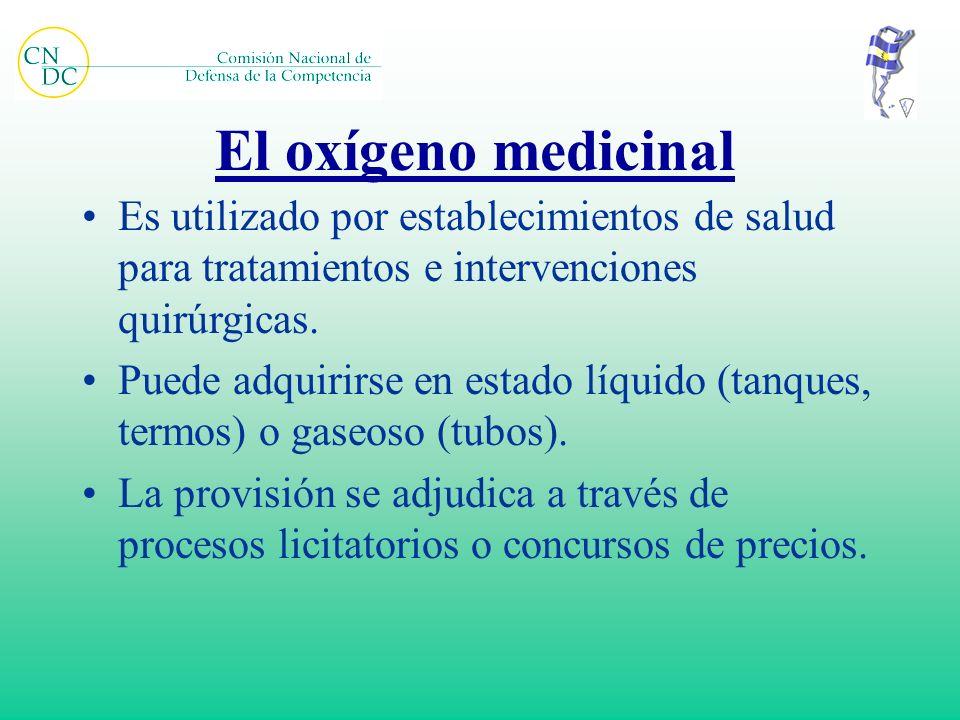 El oxígeno medicinal Es utilizado por establecimientos de salud para tratamientos e intervenciones quirúrgicas. Puede adquirirse en estado líquido (ta
