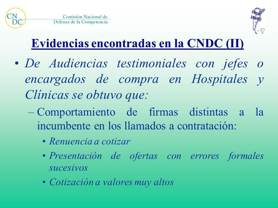 Evidencias encontradas en la CNDC (II) De Audiencias testimoniales con jefes o encargados de compra en Hospitales y Clínicas se obtuvo que: –Comportam