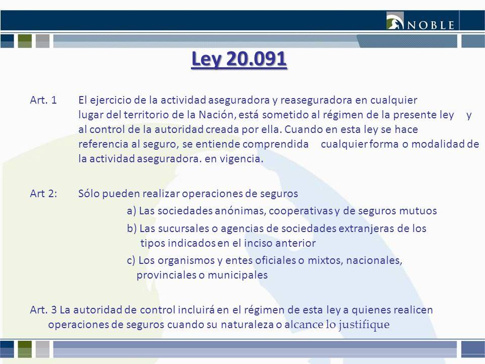 Ley 20.091 Art. 1El ejercicio de la actividad aseguradora y reaseguradora en cualquier lugar del territorio de la Nación, está sometido al régimen de