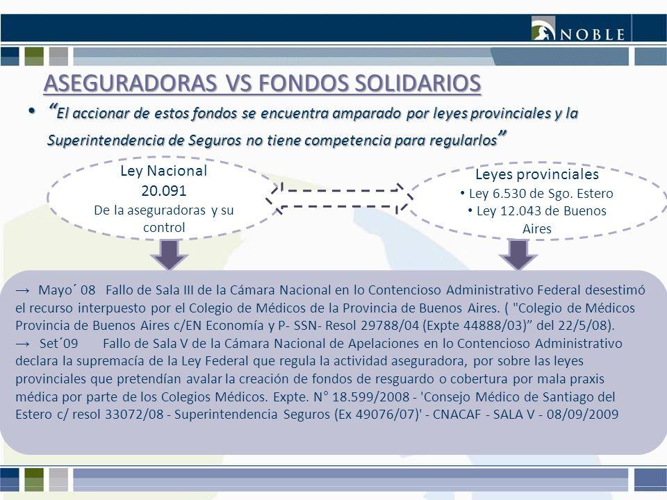ASEGURADORAS VS FONDOS SOLIDARIOS Ley Nacional 20.091 De la aseguradoras y su control Leyes provinciales Ley 6.530 de Sgo. Estero Ley 12.043 de Buenos