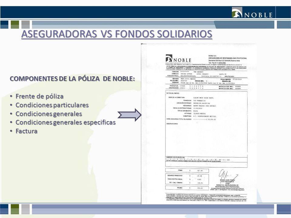 ASEGURADORAS VS FONDOS SOLIDARIOS COMPONENTES DE LA PÓLIZA DE NOBLE: Frente de póliza Frente de póliza Condiciones particulares Condiciones particular