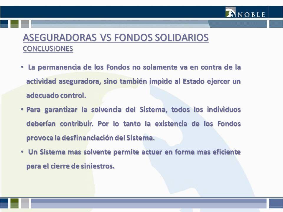 ASEGURADORAS VS FONDOS SOLIDARIOS CONCLUSIONES La permanencia de los Fondos no solamente va en contra de la actividad aseguradora, sino también impide