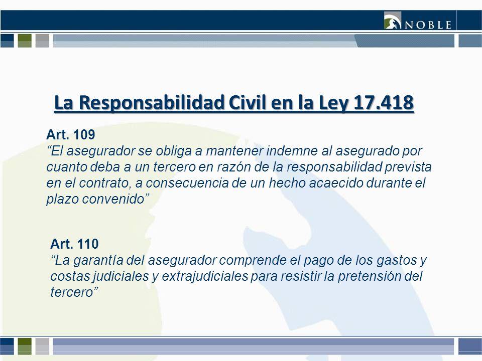 Art. 109 El asegurador se obliga a mantener indemne al asegurado por cuanto deba a un tercero en razón de la responsabilidad prevista en el contrato,