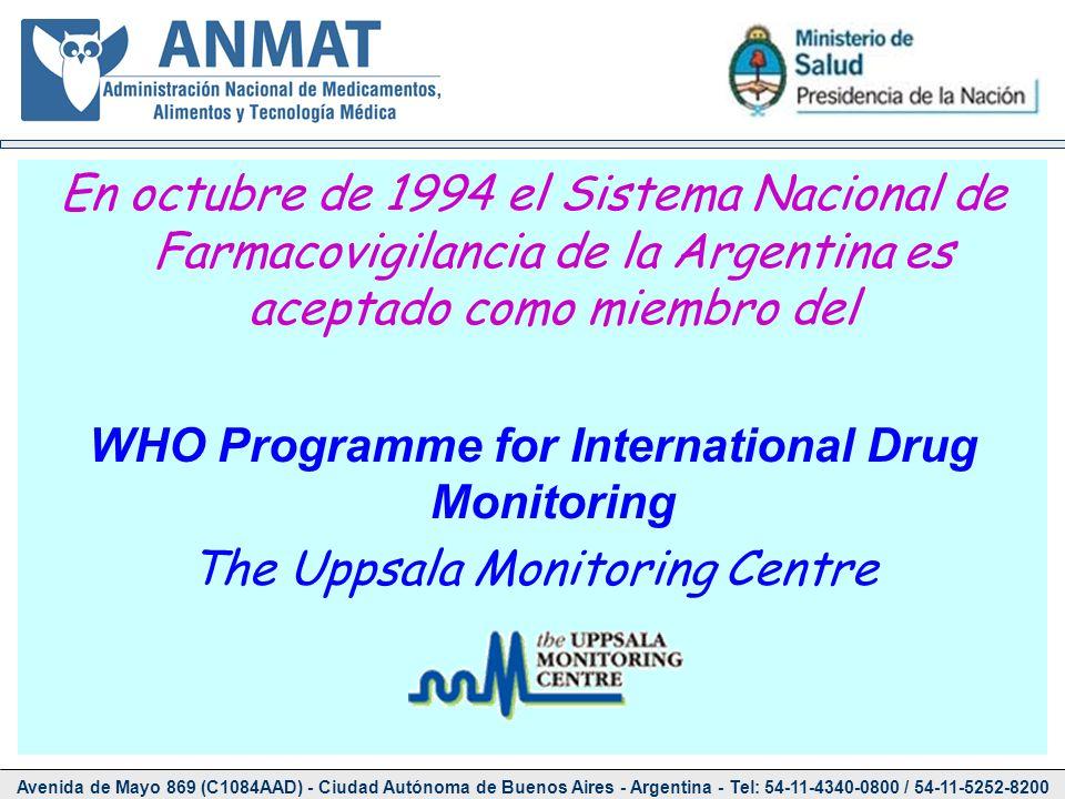 En octubre de 1994 el Sistema Nacional de Farmacovigilancia de la Argentina es aceptado como miembro del WHO Programme for International Drug Monitori